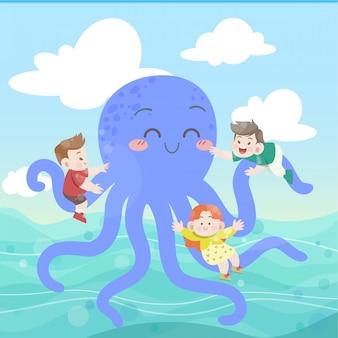 Crianças brincam com ilustração vetorial de polvo