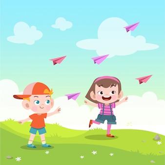 Crianças brincam de avião de papel na ilustração vetorial parque