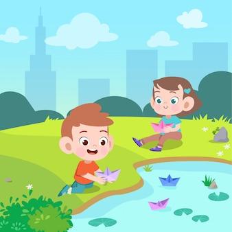 Crianças brincam de barco de papel na ilustração vetorial jardim