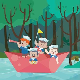 Crianças brincam de ilustração vetorial de marinheiro