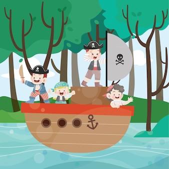 Crianças brincam de pirata na ilustração vetorial de oceano
