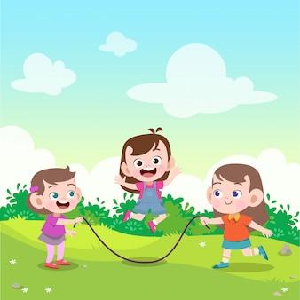 Crianças brincam de pular corda na ilustração vetorial jardim