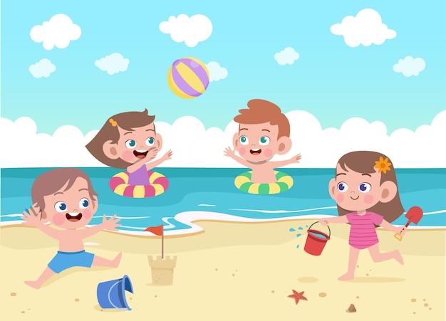 Crianças brincam na ilustração de praia