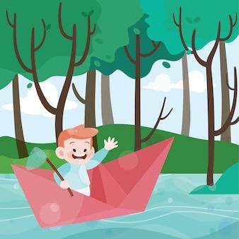Crianças brincam na ilustração vetorial de barco de papel