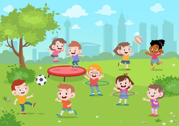 Crianças brincam na ilustração vetorial de parque