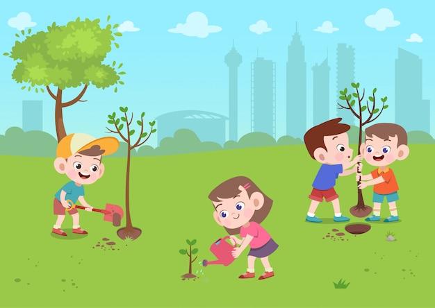 Crianças brincam no parque