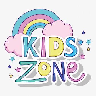 Crianças brincam zona com arco-íris com nuvens