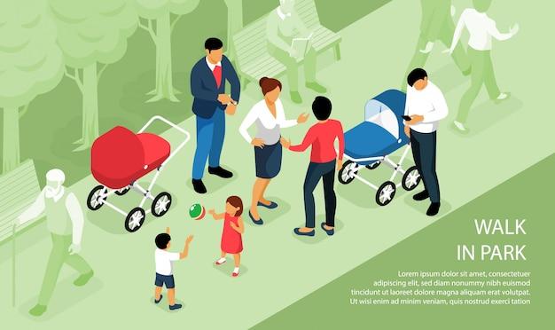 Crianças brincando ao ar livre, caminhando no parque com os pais bebês dormindo fora na composição isométrica de carrinhos