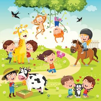 Crianças brincando com animais engraçados