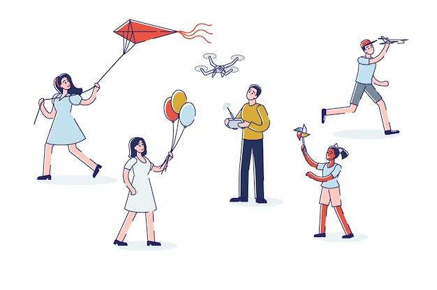 Crianças brincando com brinquedos de ar e vento, balões de ar, pipa drone