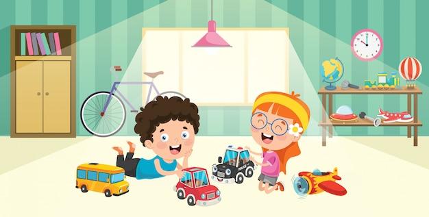 Crianças brincando com brinquedos de carros de corrida