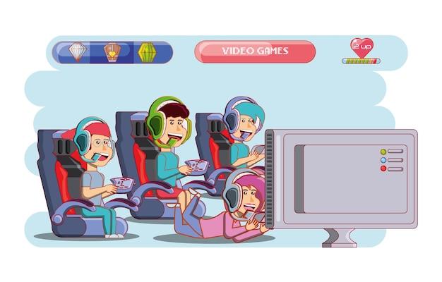 Crianças brincando com console de videogame