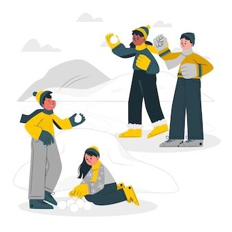 Crianças brincando com ilustração do conceito de neve