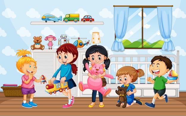 Crianças brincando com seus brinquedos em casa