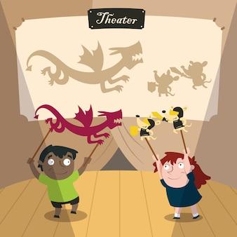 Crianças brincando com sombras de teatro