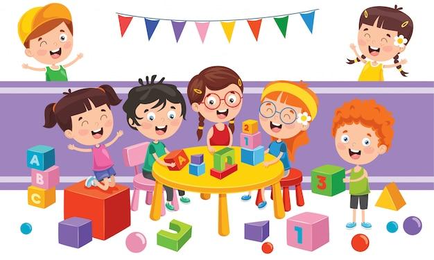 Crianças brincando com vários brinquedos