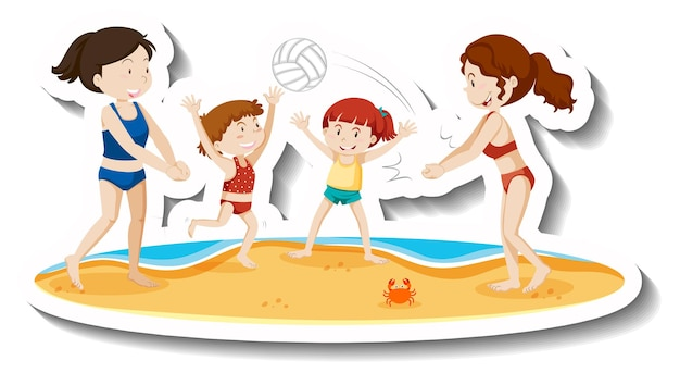 Crianças brincando de bola de vale na praia