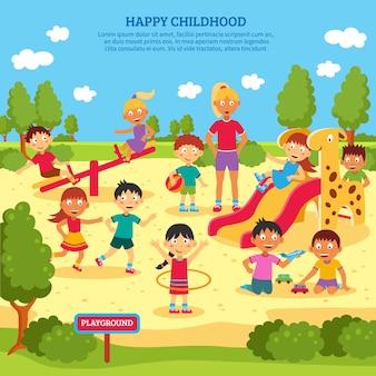 Crianças brincando de cartaz