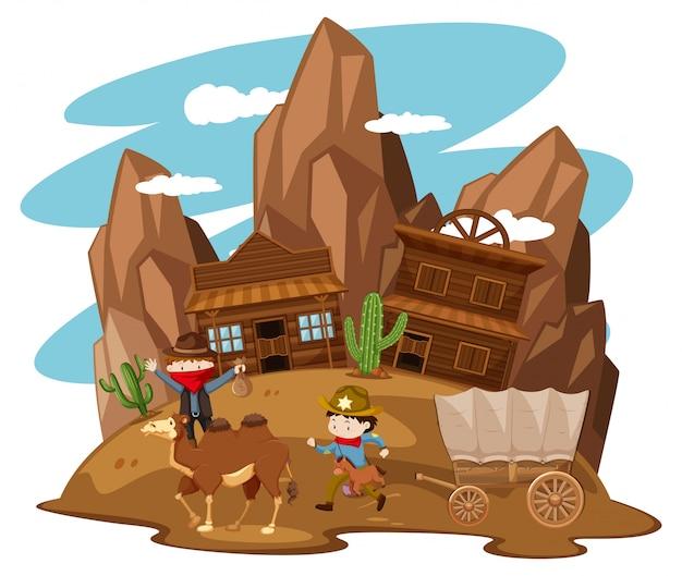 Crianças brincando de cowboy na cidade ocidental