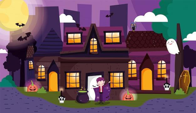 Crianças brincando de doces ou travessuras no dia das bruxas