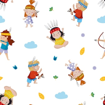 Crianças brincando de índios - padrão sem emenda
