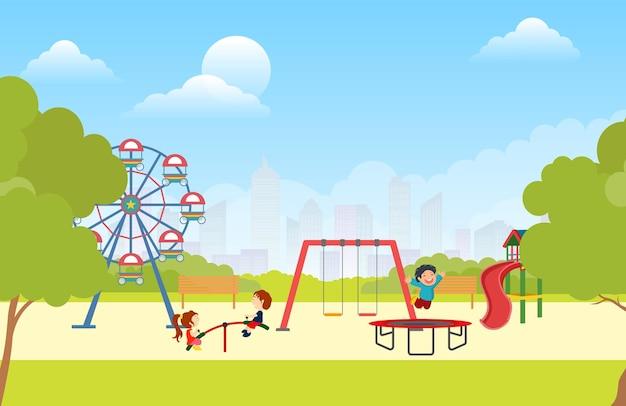 Crianças brincando de jogos e esportes no parque.