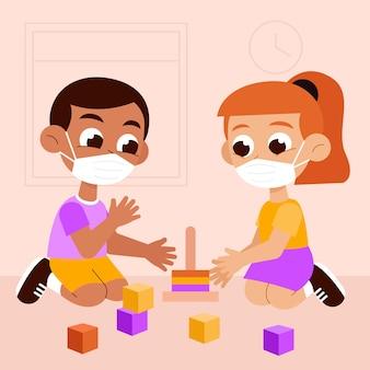 Crianças brincando de máscara médica