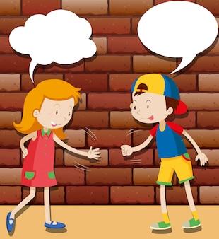 Crianças brincando de papel tesoura de pedra