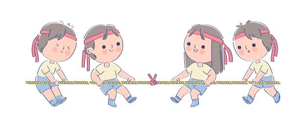 Crianças brincando de sobrevivência no festival japonês