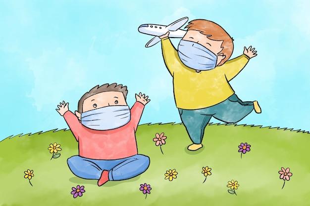Crianças brincando durante a quarentena ilustrada