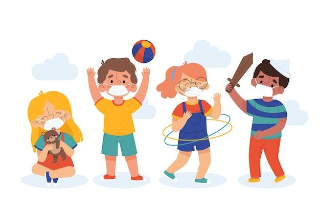 Crianças brincando e usando máscaras
