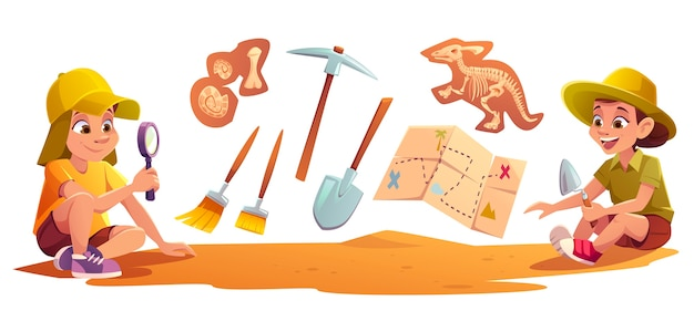 Crianças brincando em arqueólogos trabalhando em escavações paleontológicas cavando solo com uma pá