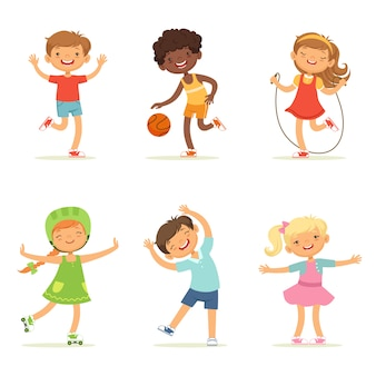 Crianças brincando em jogos ativos