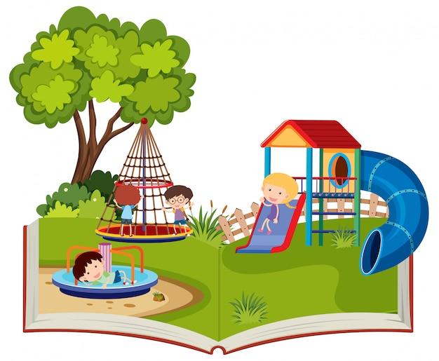 Crianças brincando em um playground pop-up livro