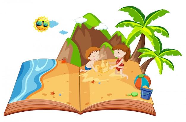 Crianças brincando em uma ilha pop-up livro