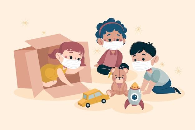 Crianças brincando juntos enquanto usavam máscaras médicas