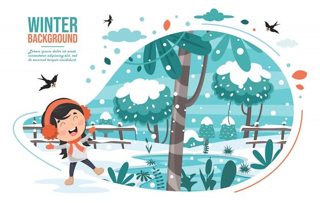 Crianças brincando lá fora no inverno