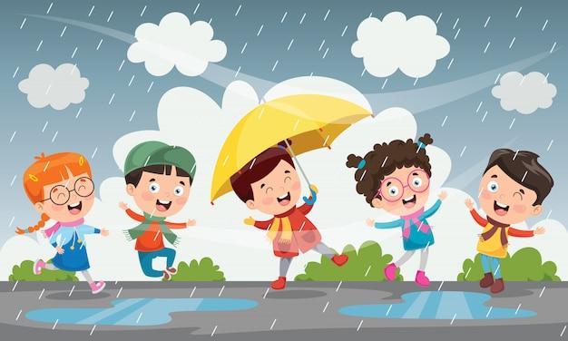 Crianças brincando lá fora sob a chuva