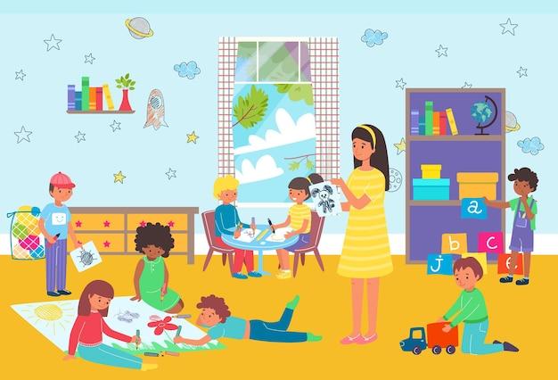 Crianças brincando na aula do jardim de infância
