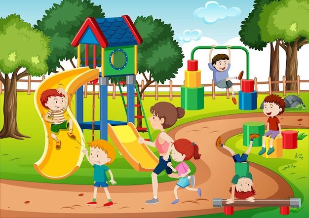 Crianças brincando na cena do parquinho