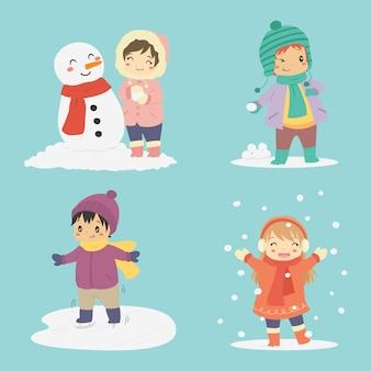Crianças brincando na coleção de vetor de férias de inverno
