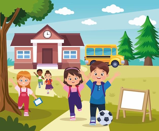 Crianças brincando na escola