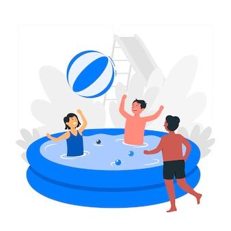 Crianças brincando na ilustração do conceito de piscina