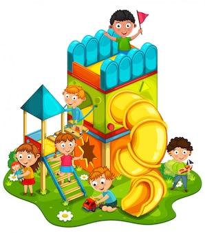 Crianças brincando na ilustração do parque