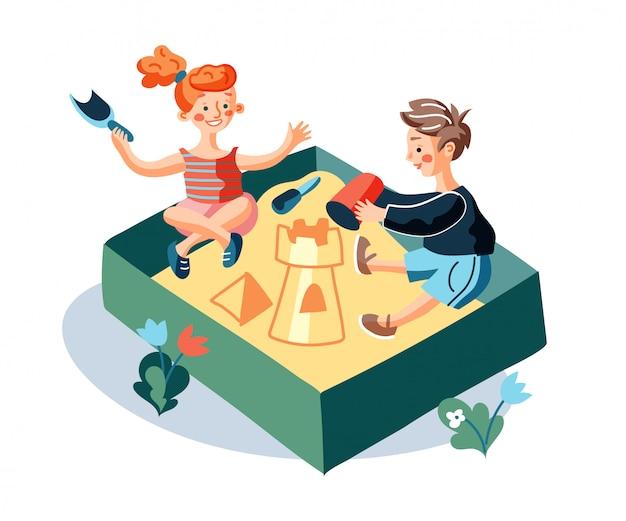 Crianças brincando na ilustração plana da caixa de areia