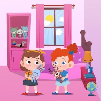 Crianças brincando na ilustração vetorial de quarto
