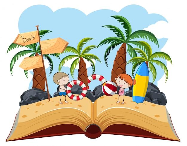 Crianças brincando na praia pop-up livro
