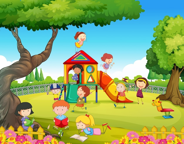 Crianças brincando no campo de jogos