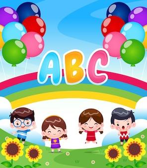Crianças brincando no jardim com arco-íris