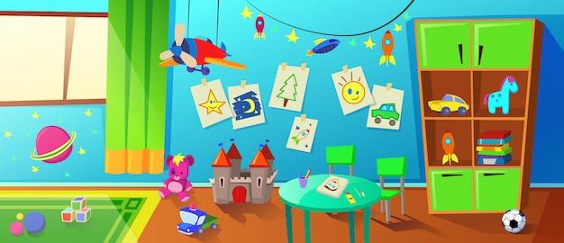 Crianças brincando no quarto ou jardim de infância interior